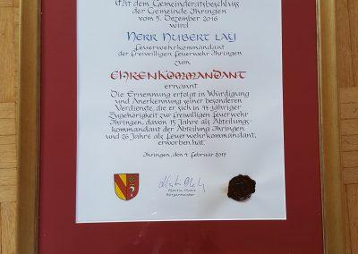 Urkunde Ehrenkommandant Feuerwehr
