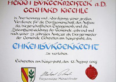 Ehrenbürger-Urkunde Eichstetten